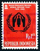 Postage Stamp Indonesia 1960 World Refugee Year Emblem