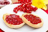 pic of margarine  - cut off english muffins with red currant jam - JPG