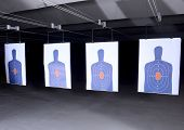 picture of dead-line  - bullseye targets lined up at gun range - JPG
