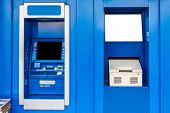 stock photo of automatic teller machine  - Blue Automatic Teller Machine or ATM and Passbook Update - JPG