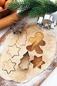 foto of christmas meal  - Kitchen utensil with raw Christmas cookies - JPG
