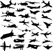 Set Of Planes Silhouettes