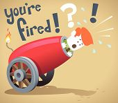 image of cannon  - illustration of Corporate Guy about to be fired from his job out of a giant cannon - JPG