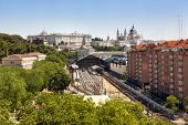 stock photo of pio  - Madrid cityscape with the Prince Pio railway station the Royal Palace and the Almudena cathedral - JPG