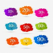 stock photo of 50s 60s  - Colorful Discount Labels - JPG