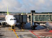 Air Baltic Airplane In Riga Airport. Air Baltic Is The Latvian Flag Carrier Airline And A Low-cost C