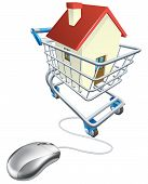 stock photo of mouse  - House mouse trolley concept computer mouse connected to shopping trolley with house in it searching real estate agent sites for house to buy online or similar - JPG