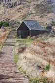 Beautiful mountain trail path near Pico do Arieiro on Madeira island Portugal