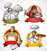 stock photo of rice noodles  - Color illustration four different chefs - JPG
