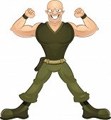 pic of racy  - Cartoon happy strong soldier showing his biceps - JPG