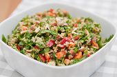 stock photo of yellow-pepper  - Organic Vegan Quinoa Salad with hazelnuts - JPG