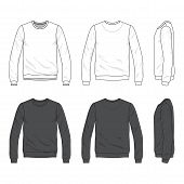 Blank Men's sweatshirt in front, back and side views