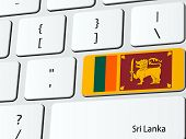 stock photo of sinhala  - Vector illustration with Sri Lankan flag computer icon keyboard - JPG