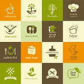stock photo of restaurant  - Set of icons for organic and vegetarian food for web and mobile - JPG