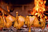 image of spit-roast  - Free range chicken wings and thighs fire roasting traditional way on skewer