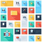 stock photo of lock  - Vector collection of colorful flat technology and multimedia icons with long shadow - JPG