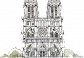Sketch of Notre dame de Paris, front view