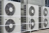 stock photo of air conditioner  - Row of air conditioners - JPG