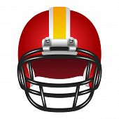 foto of football helmet  - Realistic red helmet with yellow stripe for football game - JPG