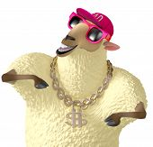 stock photo of rapper  - 3 d cartoon cute yellow rapper sheep - JPG