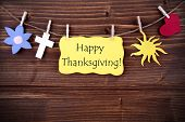 picture of happy thanksgiving  - Happy Thanksgiving Greetings Hanging on a Line with Different Symbols - JPG