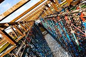 image of trestle bridge  - Rusty scaffolds of an elevated road construction - JPG