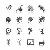 picture of orbit  - Earth orbit space station and satellite dish digital receiver communication icons set black abstract isolated vector illustration - JPG