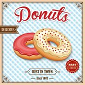 picture of donut  - Tasty baked delicious donut dessert best in town on cafe retro poster vector illustration - JPG