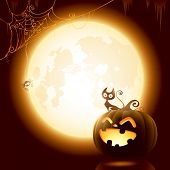 image of spiderwebs  - Halloween pumpkin under the moonlight - JPG