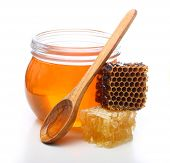 picture of spooning  - Glass bowl with honey - JPG