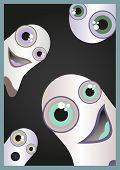 picture of funny ghost  - Halloween card with funny and scared ghosts - JPG