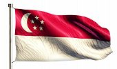 stock photo of flag pole  - Singapore National Flag Isolated 3D White Background - JPG