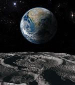 stock photo of time flies  - The moon orbit and rotating around the planet earth  - JPG
