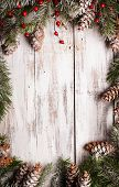 pic of snow border  - White shabby Christmas border with snow covered pinecones - JPG