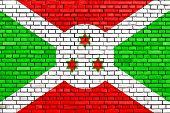 picture of burundi  - flag of Burundi painted on brick wall - JPG
