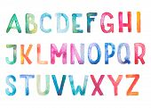 picture of hand alphabet  - Colorful watercolor aquarelle font type handwritten hand draw doodle abc alphabet letters - JPG
