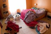stock photo of untidiness  - An extremely disorganized girl - JPG