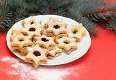 pic of linzer  - Traditional Austrian Linzer cookies in a shape of star - JPG
