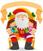 picture of lap  - Santa Clause with two kids on his lap and an empty label on top - JPG
