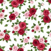 picture of english rose  - Vector seamless pattern with red and pink roses and green leaves on a white background - JPG
