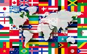 image of flags world  - Map on a background of flags - JPG
