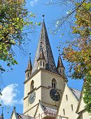 stock photo of evangelism  - Sibiu city Romania Lutheran Evangelical Cathedral architecture - JPG