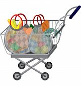 image of grocery cart  - Illustration of cartoon shopping cart full of groceries isolated on white - JPG