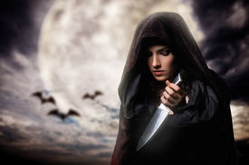 picture of vampire bat  - Young beautiful witch - JPG