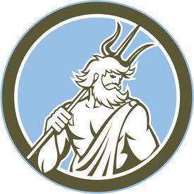 foto of poseidon  - Illustration of Roman god of sea Neptune Poseidon of Greek mythology holding a trident on shoulder set inside circle on isolated background done in retro style - JPG