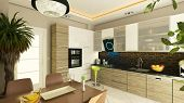 image of flush  - modern kitchen design with flush cabinet render - JPG