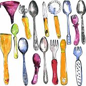 pic of kitchen utensils  - set of kitchen utensils drawing by watercolor and ink - JPG