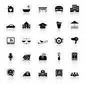 picture of clientele  - Hospitality business icons with reflect on white background stock vector - JPG