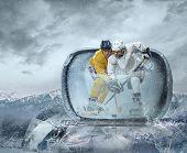 stock photo of ice hockey goal  - Ice hockey player on the ice - JPG