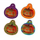 Halloween pumpkin tags or label collection